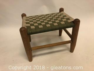 Vintage Cloth Woven Stool Or Child's Bench