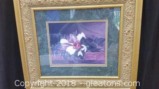 Cedar Creek Collection Flowers On A Mantle - Gold Leaf Frame