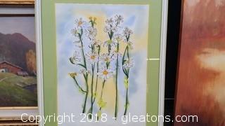 Vintage Watercolor Signed Babette Eddlestone Daisies