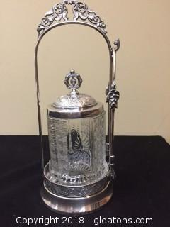 Victorian Pickle Jar/Pickle Castor Meriden B-Company Very Ornate, Gorgeous Silver Plate
