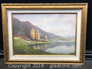 Large Original By Fritz Paplham Landscape Gorgeous Hand Carved Frame