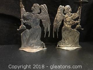 Peltro 95% Fein Zinn Pair Of Angel Candlesticks
