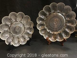 2 Glass VIntage Egg Plates