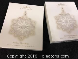 Pair Of Hallmark 'Shining Memories' Ornaments
