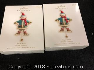 Pair Of 'Snowman' Hallmark Ornaments