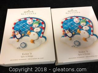 Pair Of 'Kickin It' Hallmark Christmas Ornaments