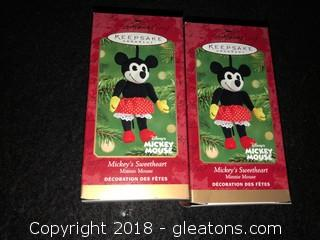 Pair Of 'Mickey's Sweetheart' Hallmark Ornaments