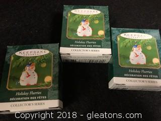 Lot Of 'Holiday Flurries' Hallmark Mini Ornaments