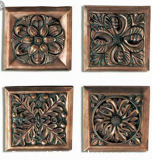Set of Four Architectural Tiles Feathers 16 TOTAL