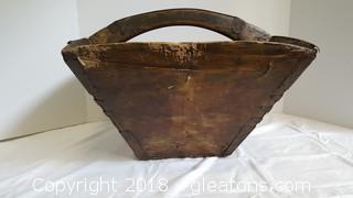 Vintage Square Wooden Handmade Basket