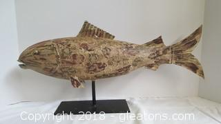 Metal Hand Painted Table Top Fishing Decor