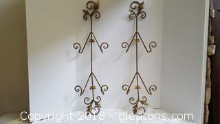 """Pair Of Metal Plate Holders Brushed Gold 30"""""""