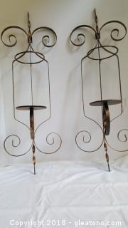 Pair Of Metal Candle Holders Wall Decor Brushed Gold/Black