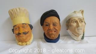 Set Of (3) Bossons 1969,67,81 Congleton, England Historical Faces Wall Decor