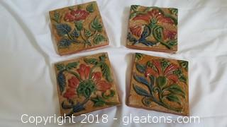 Hand Glossed and Painted Wall Decor Tiles Set Of (4)