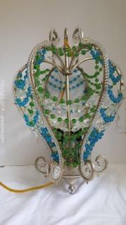 Ornate Beaded Chandelier Teal Blue/Green Beads Silver Base