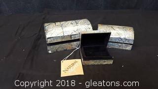 New- Natural Shell Trinket Mother Of Pearl Box Crafted By Hand (3) Piece Set