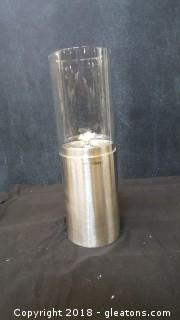 """New In Box Stainless Steel/""""Lazy Susan"""" Glass Burning Lamp"""