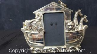 """Silver Plated 4x6 Picture Frame """"Noah's Ark"""""""