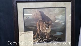 Framed Animal By: Charles Frace Limited Edition High End Wood Cougar Frame