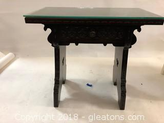 Ornate Side Table With Drawer Heavy Glass