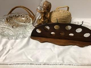 Vintage Cut Glass Pieces With Miniature Baskets + Pipe Holder