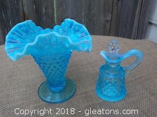 Fenton Blue Hobnail Vase and Cruet
