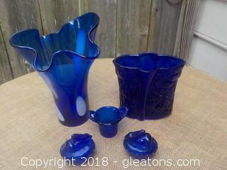 Cobalt Blue Glass Lot Stretch Glass Vase, Bunny Salt Cellars, Boyd Basket