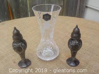 Stuart Crystal Vase from Great Britain & Oneida Old South Salt Pepper Shakers
