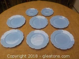 Vintage Jeanette Delphite Blue Cherry Blossom Plates Saucers