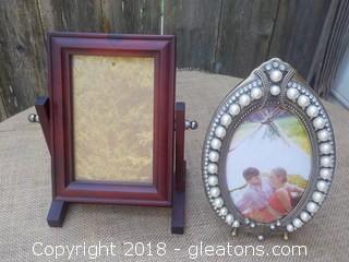 2 Picture Frames Swivel & Victorian Pearl Rhinestone Design