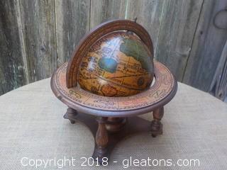 Vintage Olde World Zodiac Astrology Wood Globe