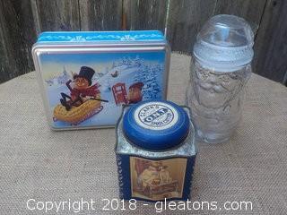 Planter's Peanuts Tin, Clark's Tin & a Glass Santa Canister Jar