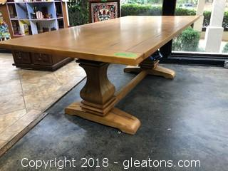 """Dining Room Table Brand New, """"Coaster"""" Parkins Collection Shaped Double Pedestals"""