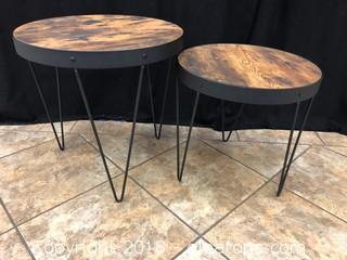 """Hairpin Nesting Tables Two Piece, Honey And Black 23"""""""