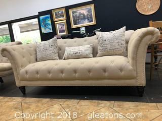 "Modern Linen Tufted Sofa 91"""