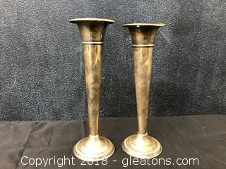 Sterling Weighted W.M. Rogers 84A Pair Flower Vases