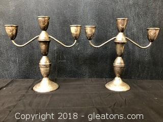 """Sterling Weighted Candle Sticks, 10"""" By Dunchin Pair (B)"""