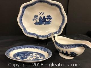 Set Of 3 Johnson + Brothers Dishes - Platter, Gravy Bowl - Dish