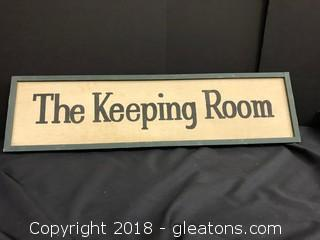 The Keeping Room Wooden Sign - Framed