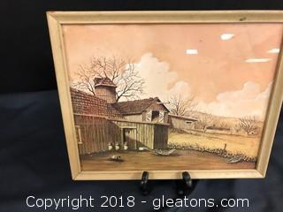 Vintage Barn Scene- Sepia Colors