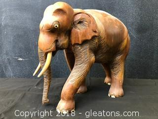Wooden Hand Carved Elephant 9""
