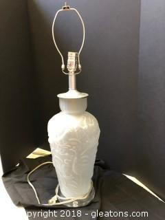 Oriental Styled Lamp With Flamingo Decor Luicite Bottom