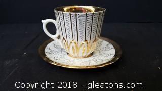 Antique Tea Cup/Saucer Gold Leaf Ornate Design
