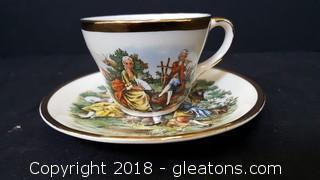 Tea Set Cup/Saucer Set New Jersey Turnpike Made In USA 22kt. Gold