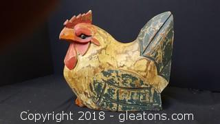Hand Carved/Painted Wooden Decorative Hen