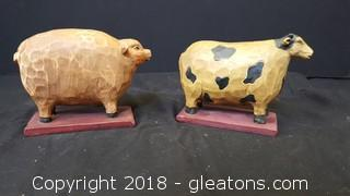 Farm Animals Wooden/Carved Decor Set Of 2