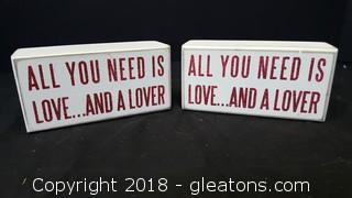 "Set Of 2 Wooden ""Love"" Boxes Decor"