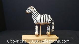 Hand Painted/Carved Wooden Zebra Desktop Floating Rocker