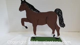 Hand Painted Wooden Horse Desktop Decor